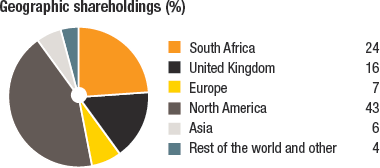 Geographic distribution of shareholders (%)