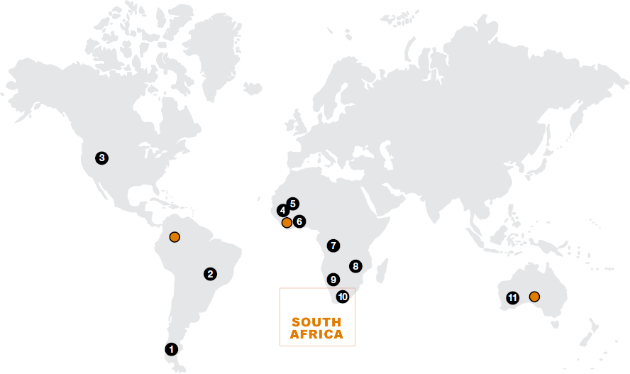 Location of AngloGold Ashanti's operations [map]
